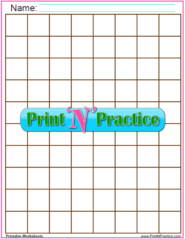 Brown - One inch graph paper printable - 1 inch graph PDF.