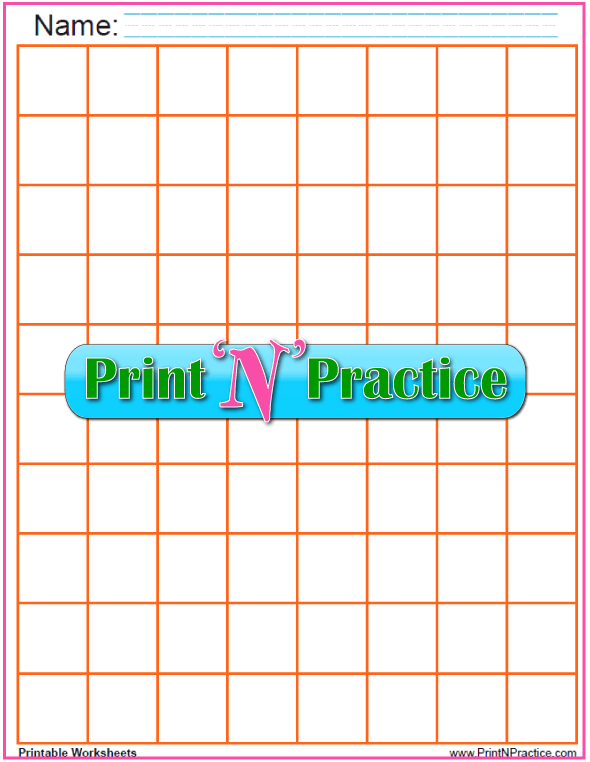 Orange - One inch graph printable PDF - 1 inch graph size.