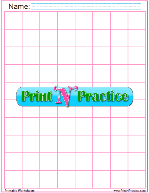 Pink - One inch graph paper printable - 1 inch graph paper PDF.