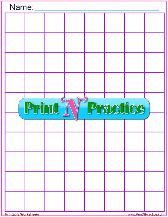 Purple - One inch graph paper to print and personalize - 1 inch graph paper.
