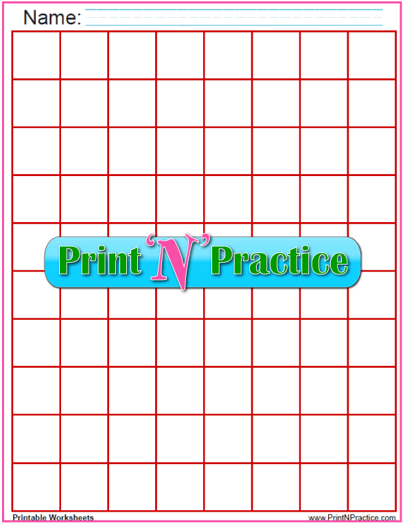 Red - One inch graph paper to printable - 1 inch graph paper to customize and print.