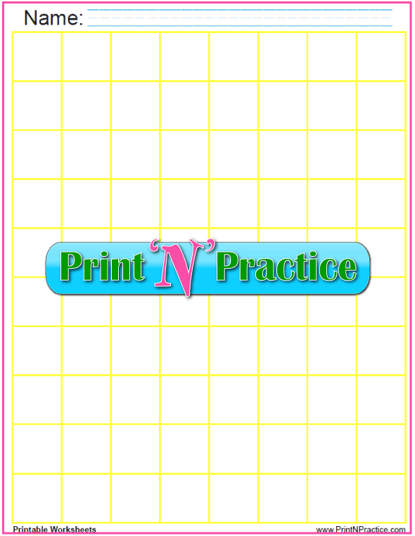 Yellow - One inch graph paper to print and personalize - 1 inch graph paper printable.