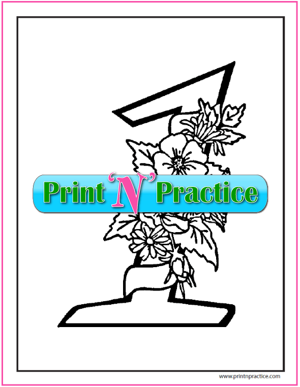 Floral Number 1 coloring page