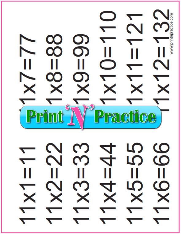 Elevens Printable Multiplication Chart