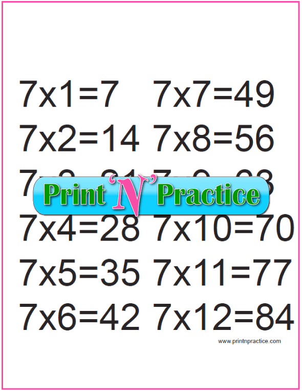 Printable Multiplication Table 7x