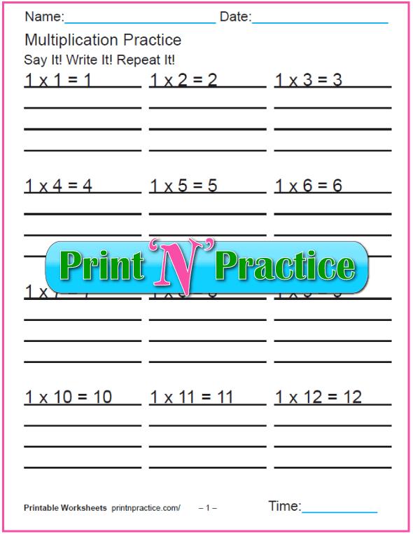 Fun Multiplication Worksheets - Ones Multiplication Practice.