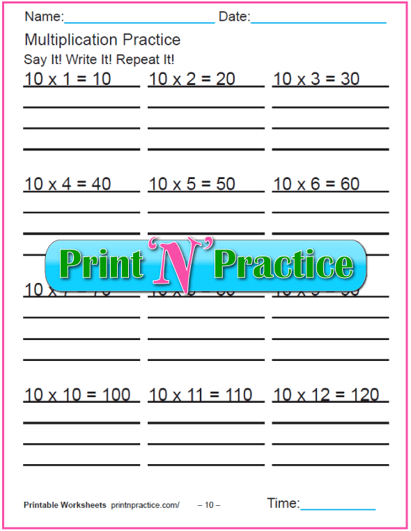 Fun Multiplication Worksheets: Tens Multiplication Worksheet