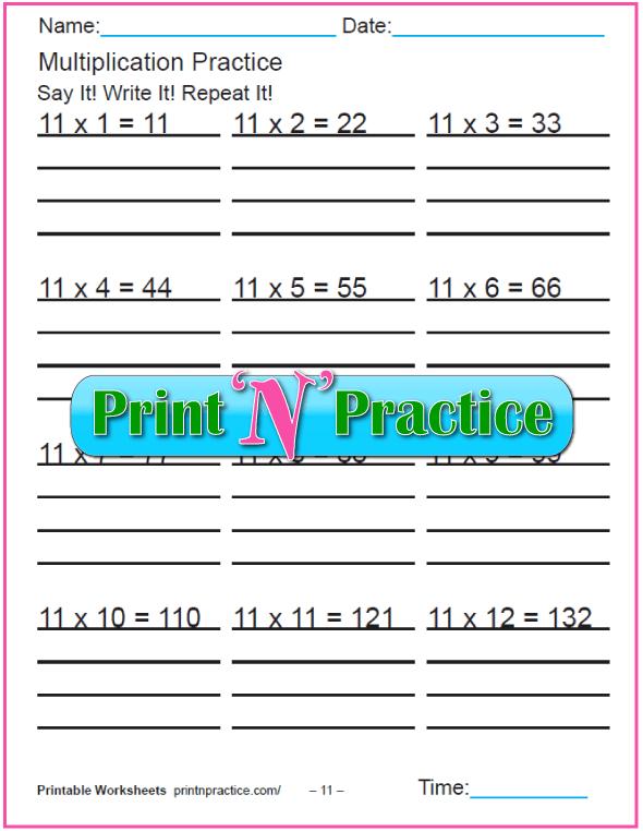 Fun Multiplication Worksheets: Elevens Multiplication Worksheet