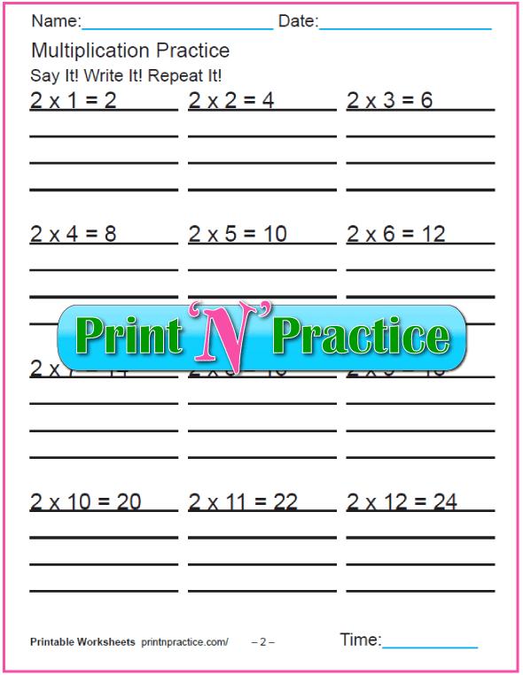 Fun Multiplication Worksheet: Twos Multiplication Worksheet