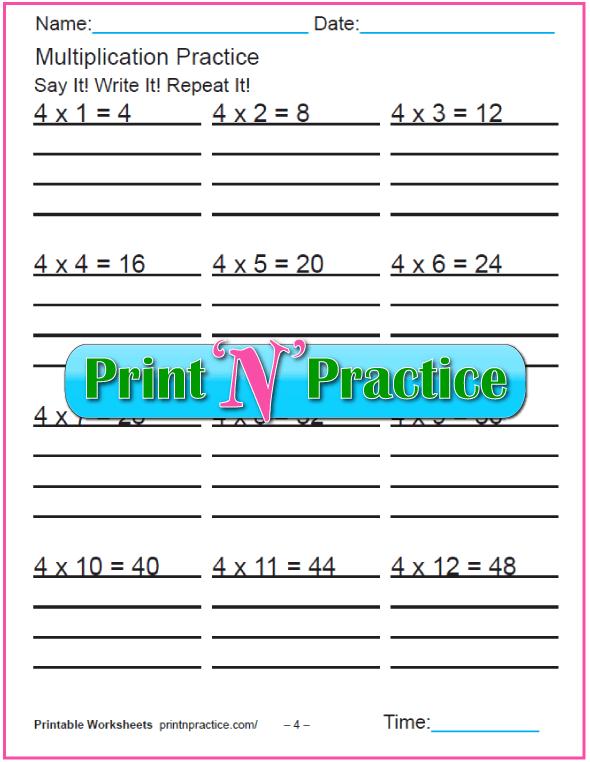 Fun Multiplication Worksheets: Fours Multiplication Worksheet