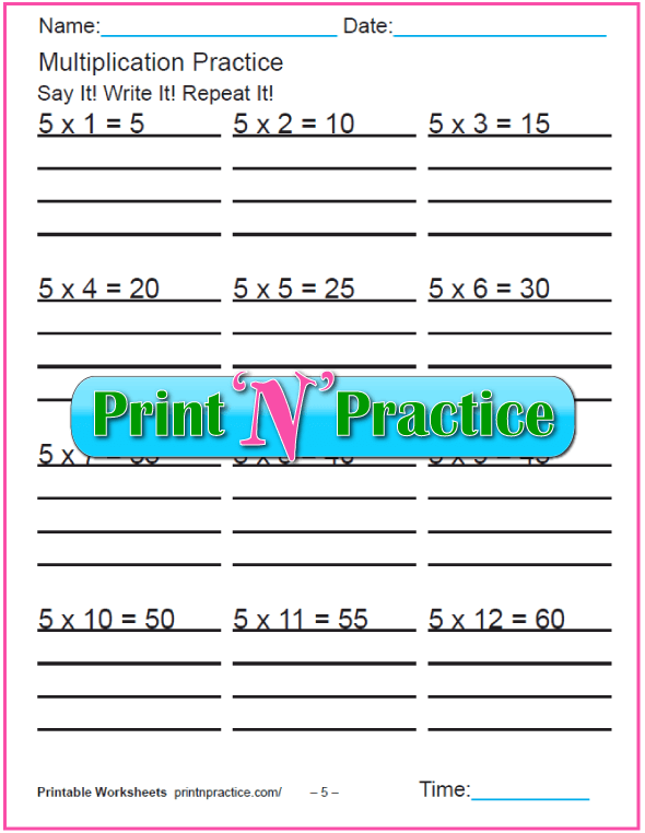 Fun Multiplication Worksheets: Fives Multiplication Worksheet