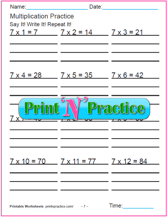 Fun Multiplication Worksheets: Sevens Multiplication Worksheet