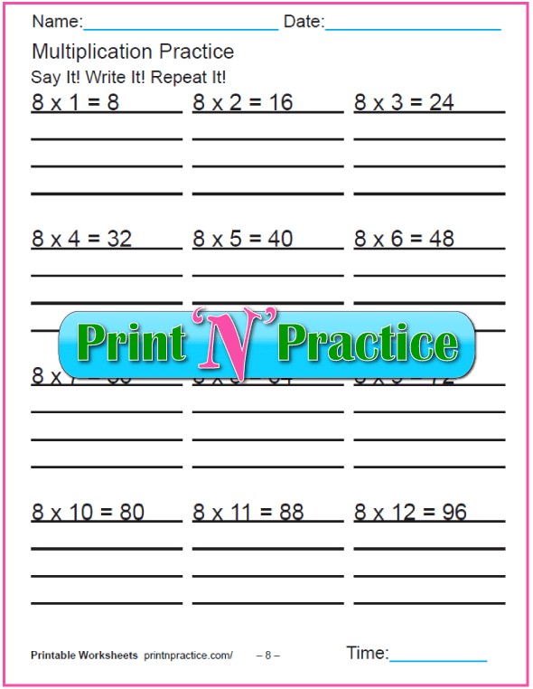 Fun Multiplication Worksheets: Eights Multiplication Worksheet
