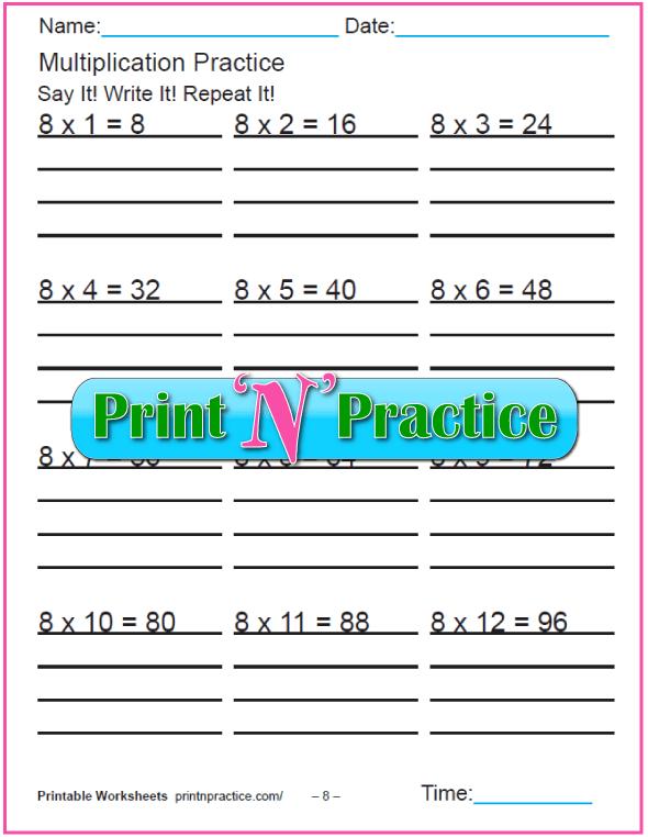 Fun Multiplication Worksheets: Eights Multiplication Worksheet