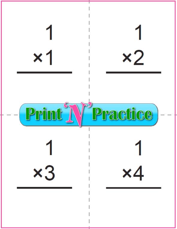 Printable Multiplication Flash Cards 1x