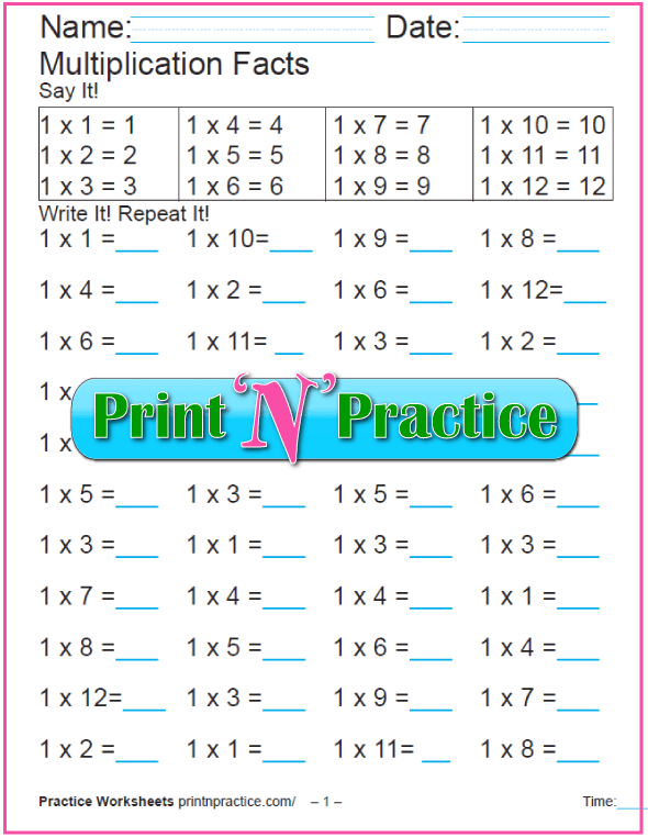 Twelve Fun Multiplication Worksheets: 12 Multiplication Quizzes