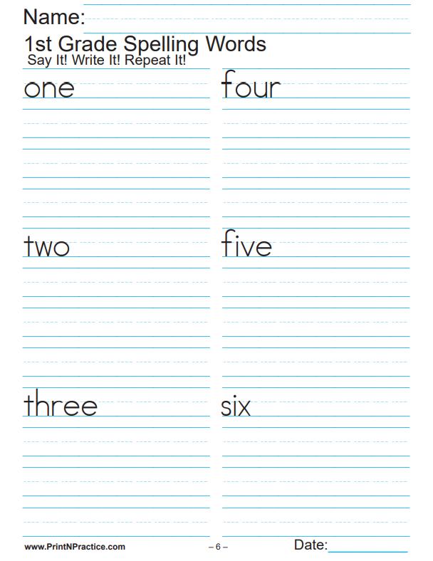 Printable First Grade Worksheets: Spelling List Worksheets - 79 Pages