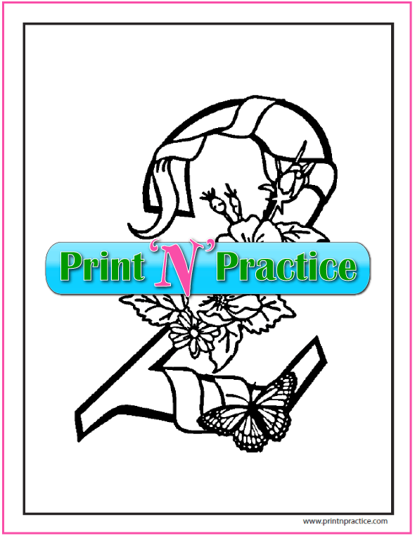 Flowered Number 2 Coloring Page
