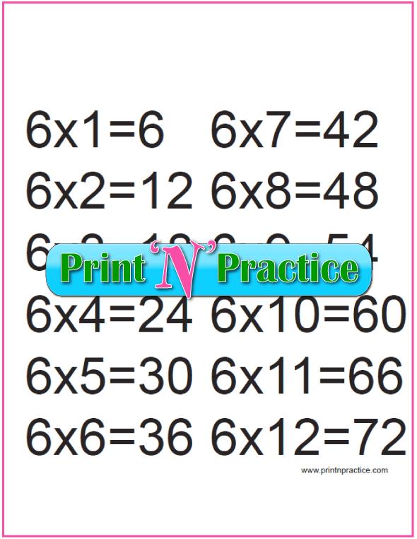 Printable Multiplication Table 6x