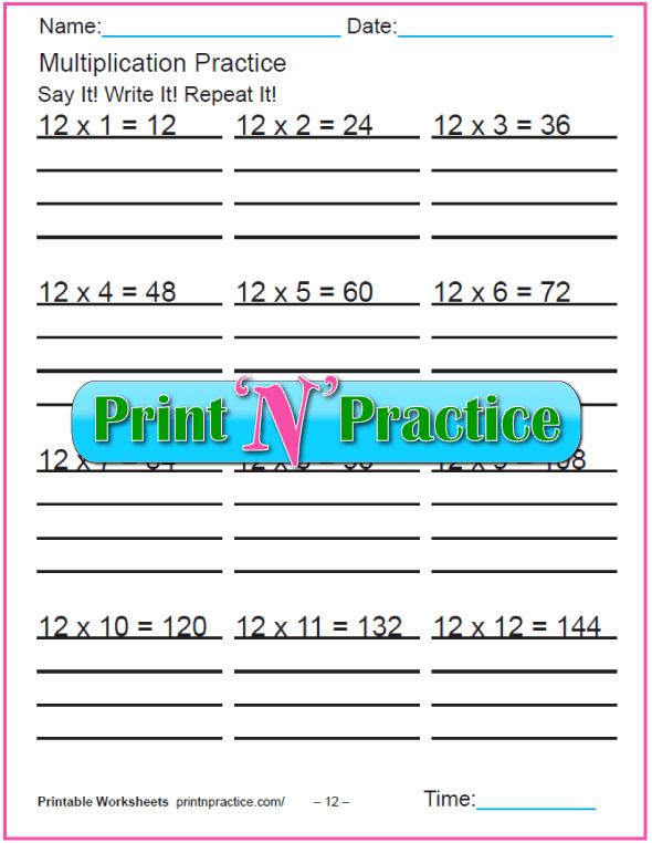 Fun Multiplication Worksheets: Twelves Multiplication Worksheet