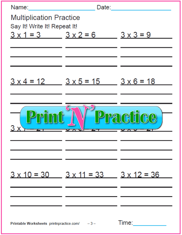 Fun Multiplication Worksheets: Threes Multiplication Worksheet