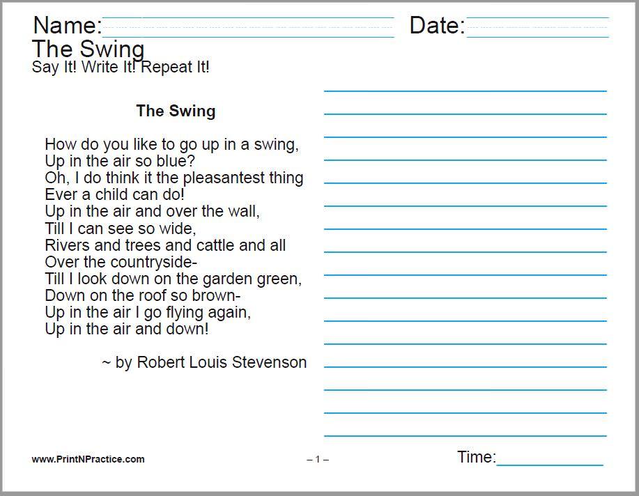 Printable Handwriting Worksheets for kids.