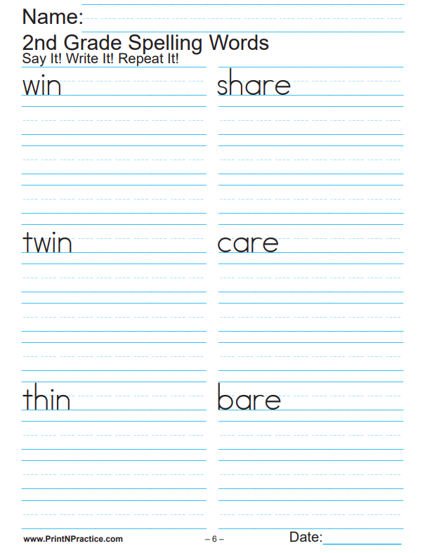 Second Grade Worksheets Spelling List: Copy The Words Three Times
