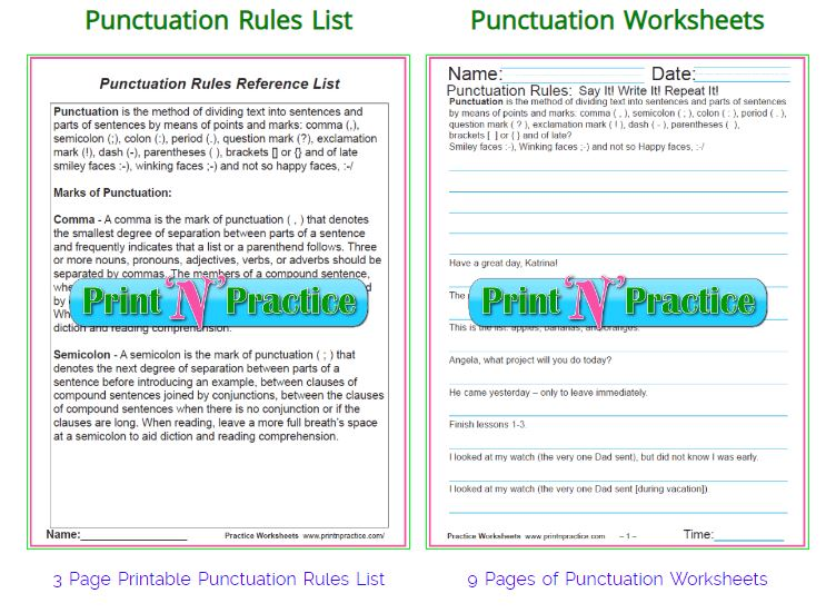 Punctuation Worksheets ⭐ Punctuation Rules
