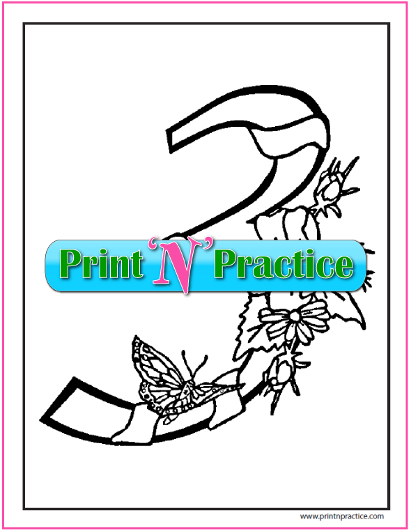 Number 3 Coloring Page: Flowers, ribbon, and butterfly
