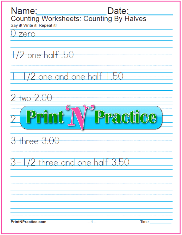 Printable Counting Worksheets: Count by halves.