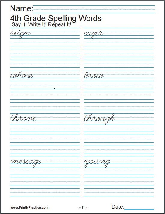 Printable Worksheets For Spelling: Practice 3x each.