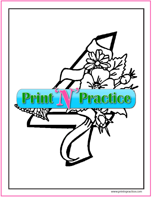 Number 4 Coloring Page: butterfly, flowers, and ribbon.