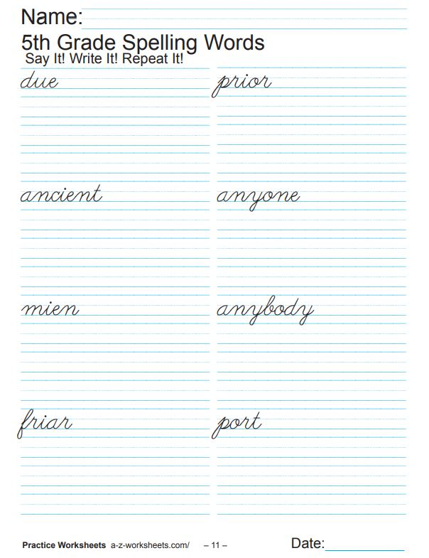 Printable Fifth Grade Spelling Lists and Printable Worksheets In Cursive Handwriting
