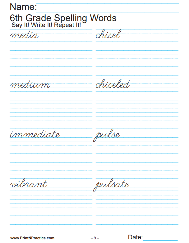 Printable Sixth Grade Spelling Words Worksheets And List