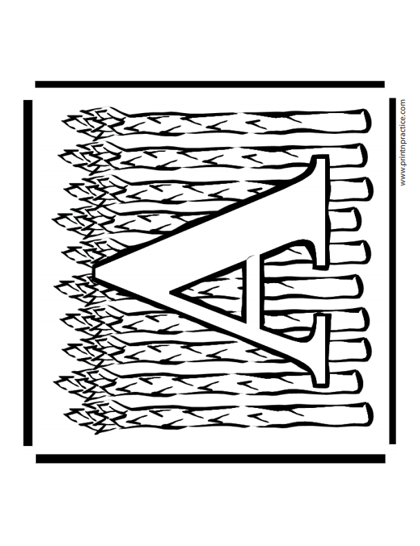 A For Asparagus: Alphabet A Coloring Page
