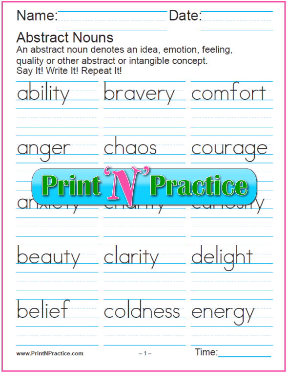 Noun Worksheets Common and Proper Abstract Collective Plural – Abstract Noun Worksheet