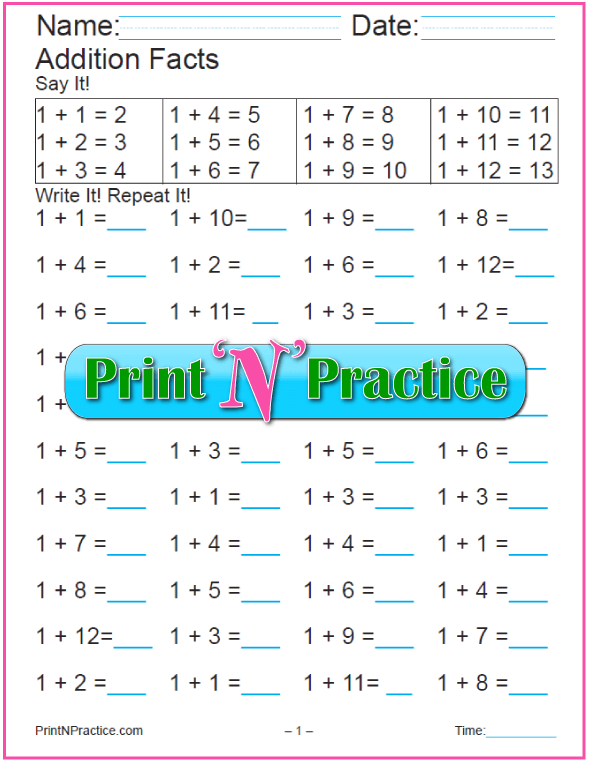 First Grade Addition Worksheets: All twelve tables!