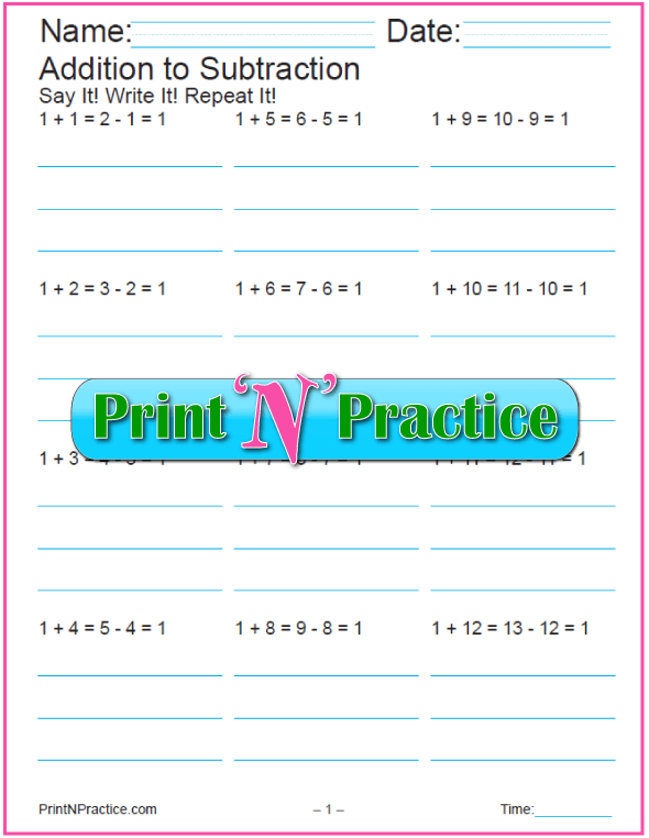 12 Printable Addition and Subtraction Worksheets