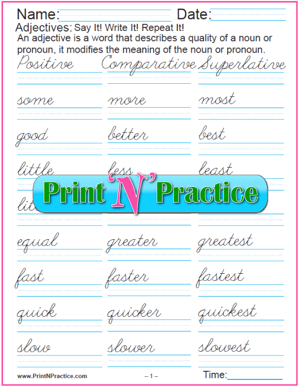 Cursive Positive, comparative, and superlative adjectives worksheets. 4 pages.