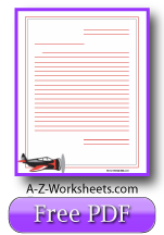 Printable Lined paper: airplane theme