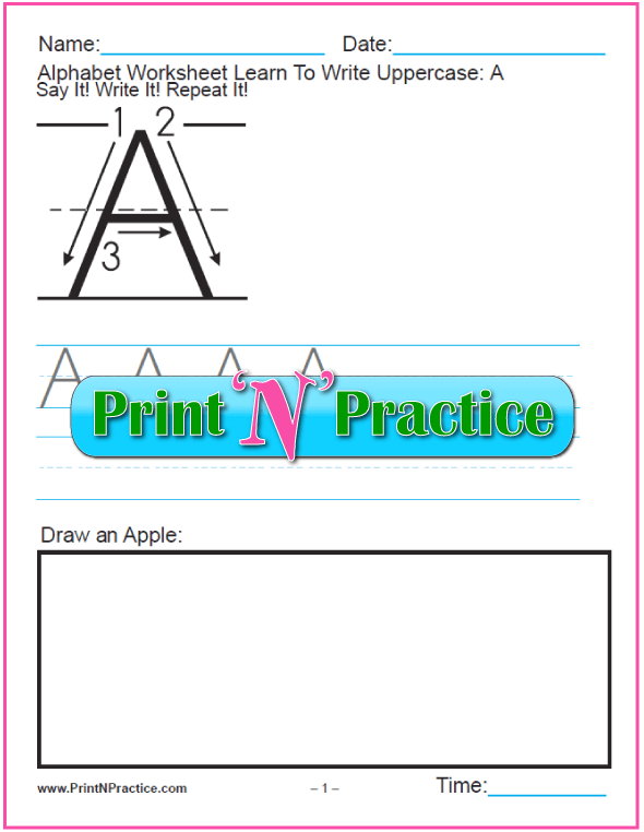 Printable Alphabet Worksheets: Uppercase letters.