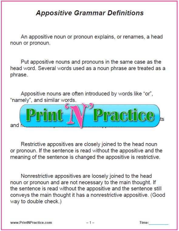 Appositives Worksheets
