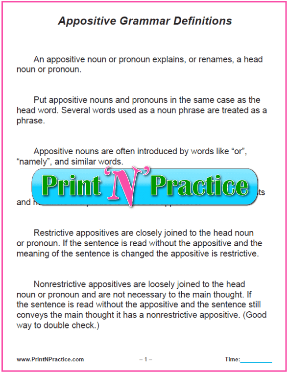 Appositive Definition Chart