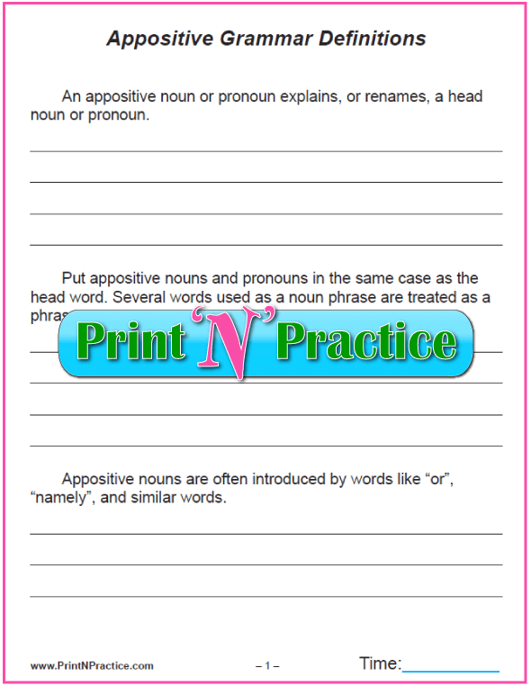 Appositives Worksheet: Copy the Appositive Definitions