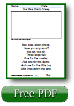 Baa Baa Black Sheep First Grade Reading Worksheets