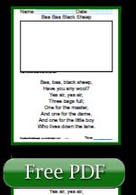 Baa Baa Black Sheep First Grade Reading Worksheets