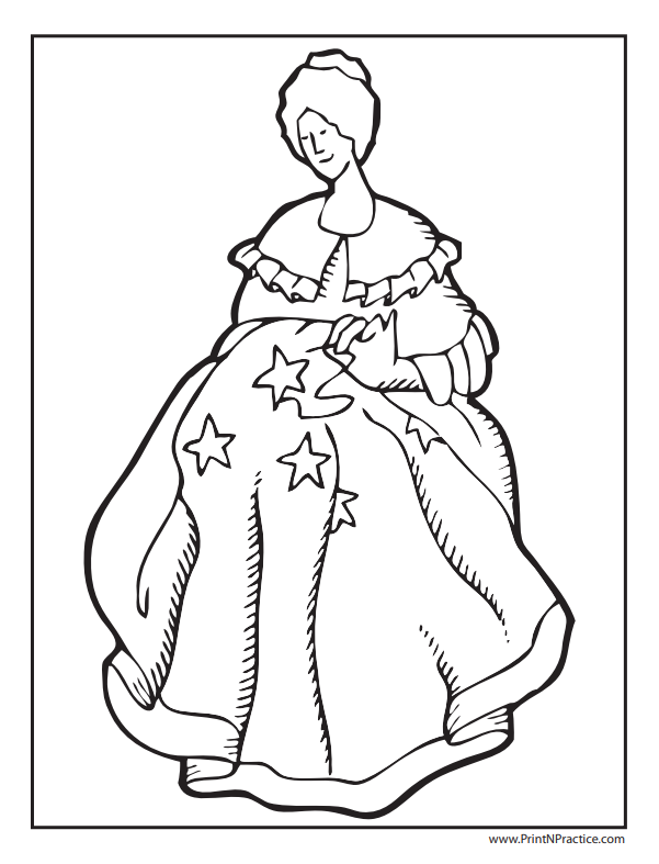 Flag Coloring Pages: Betsy Ross Flag Coloring Page