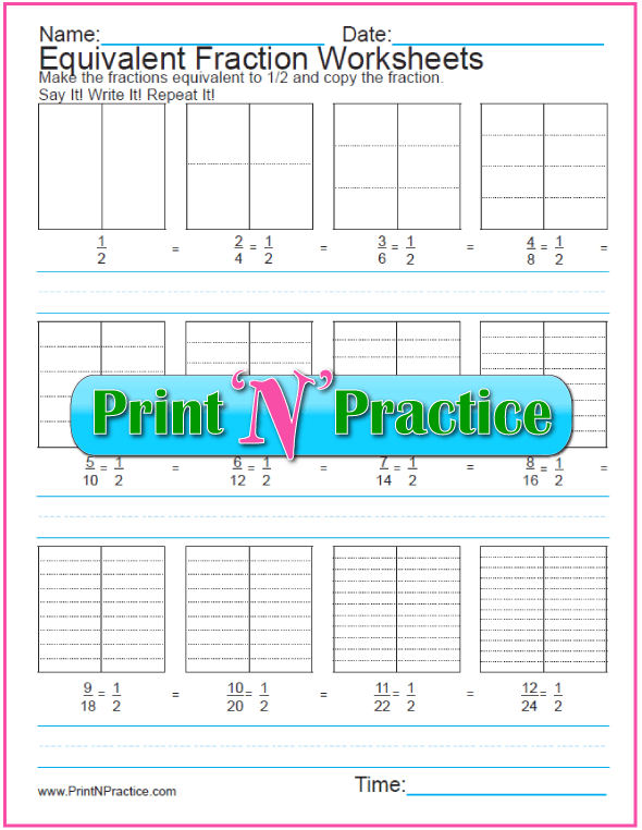 Blank Equivalent Fraction Worksheets For Kids