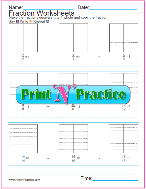 Blank Equivalent Fraction Worksheets