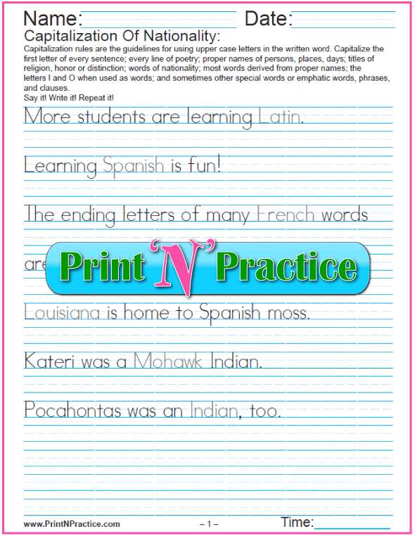 Capitalization and Punctuation Worksheets: Capitalizing Words of Nationality